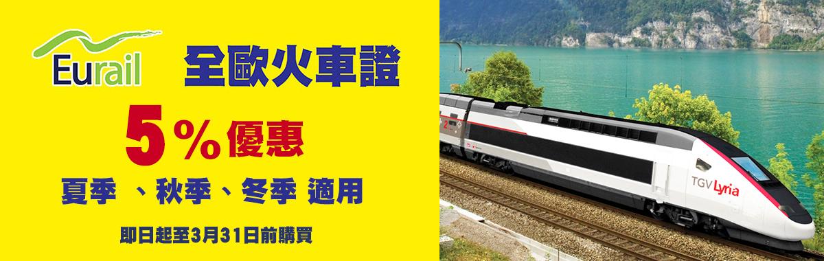 Eurail 全歐火車證最高8%優惠